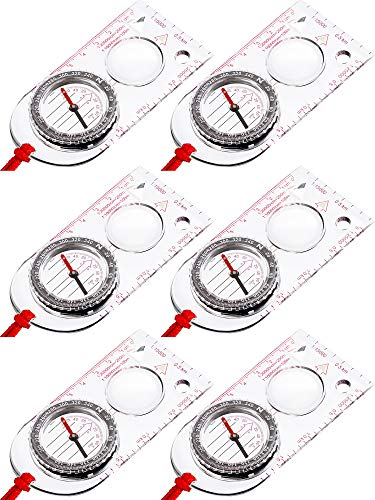 Gejoy 6 Pieces Navigation Backpacking Compass Orienteering Hiking Compass Adjustable Map Reading Compass for Boy Scout Kids Outdoor Camping (Style 2)