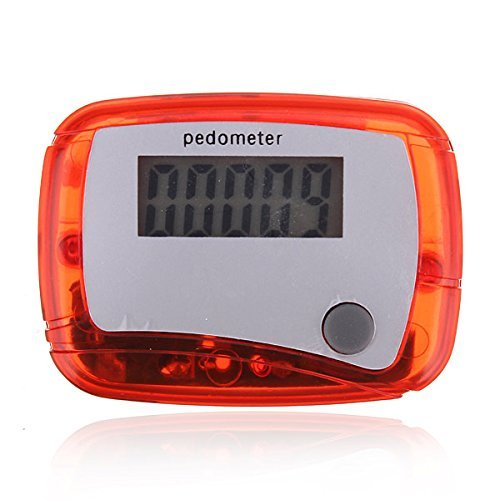 WorldCare® Outdoor Sports LCD Digital Pedometer Walking Running Distance Counter Color Red