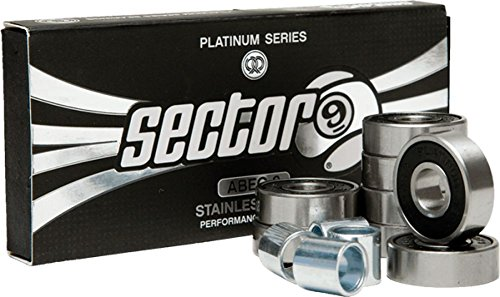 Sector 9 Platinum ABEC-9 Stainless Steel Bearing with Spacers (Pack of 8)