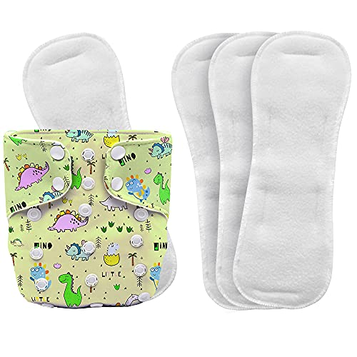 BECKER bunny Free Size Cloth Diaper with 4 Insert Pads Combo, Super Soft Reusable Baby Diaper with RAPISOAK Technology - Washable Diaper for Babies from 3 to 36 Months - DINNY DINOS, COMBO
