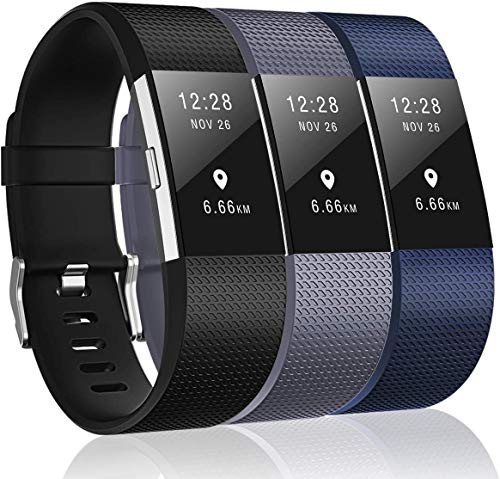 Sounce Pack of 3 Belts/Straps Compatible for Fitbit Charge2 Bands Wristband Straps (3 Units) Large