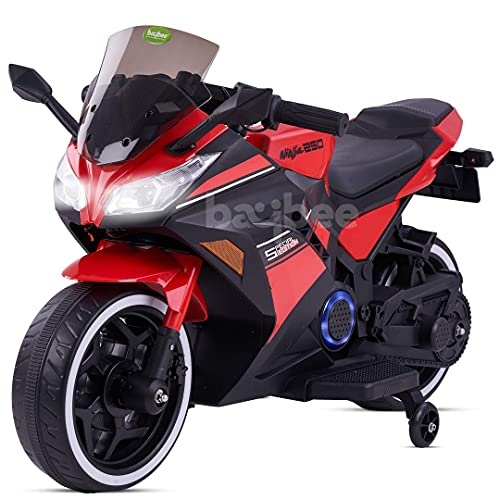 GoodLuck Baybee Ninja Electric Bikes Rechargeable Battery Operated Ride-on Bike and Baby Ride on/Kids Ride on Toys Kids Bike Baby Bike for Kids to Drive Toys Car Suitable for Boys & Girls (Red)