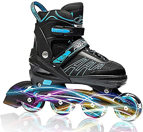 MRUD Adjustable Inline Skating Sports Shoes for Childrens Comfertable Roller Skate for Outdoor Fun with Roller Skates for 5 to 16 Yrs Boys and Girls with Blue Color