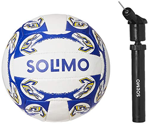 Amazon Brand - Solimo Hand Stitched PU Volleyball, with Hand Pump, Size 4