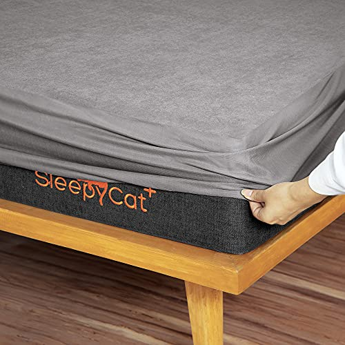 SleepyCat Water Proof Ultra Soft Terry Cotton King Size Mattress Protector (78x72 inches, Grey)
