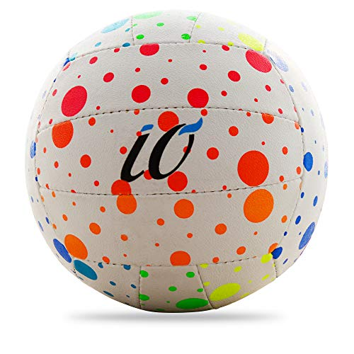 Io All Season Polka Volleyball for All Ages Kids Adults Volleyball for School Goers Fine Triple Layered Club Type Official Polka Volleyball (Number 4,Rainbow)