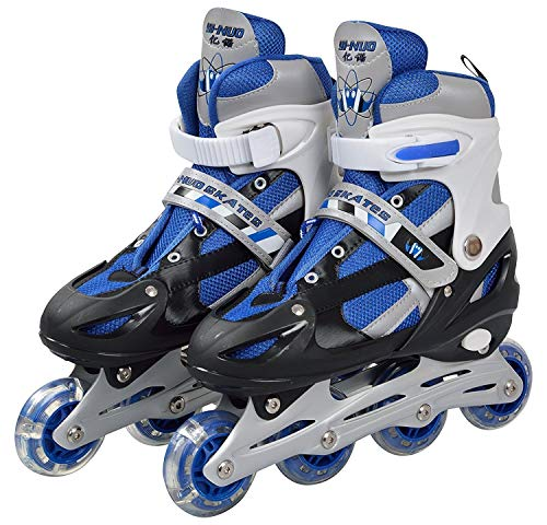 JANCOM Inline Skates with PU Flashing Wheel Aluminum Body in-Line Skates with Adjustable Length for Age 10-16 Years (Multi Color)