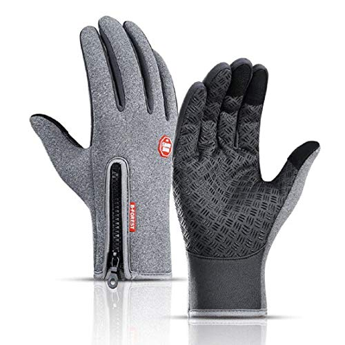 HUNTSMANS ERA Unisex Gloves Biking Riding Cycling Water Resistant Outdoor Gloves Athletic Touch Screen Friendly Mittens for Men and Women (GREY, M)