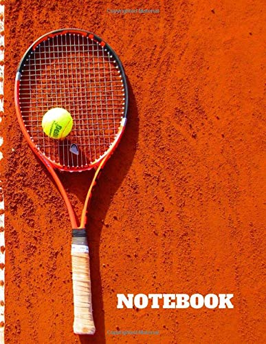 Notebook: Blank Notebook - Large (8.5' x 11') - 150 Unlined Pages - Tennis Racquet and Ball On Clay Court Cover