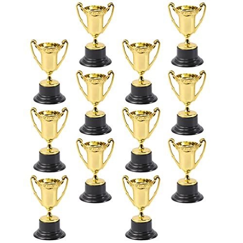 TOYANDONA 12Pcs Gold Award Trophy Cups, 3. 3 inch Mini Trophies for Kids Party Favors Rewards Competitions