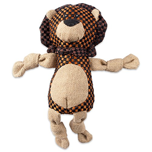DII Bone Dry Burlap Body Jungle Friends Squeaking Pet Toy, 1 Piece Lewis Lion Plush Toy for Small, Medium and Large Dogs