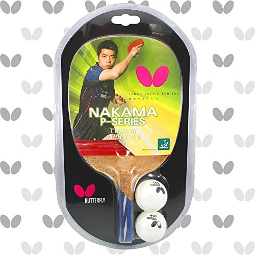 Butterfly Nakama P-7 Table Tennis Racket 2 Balls - Japanese Penhold Blade - Wakaba 1.9mm Rubbers - ITTF Approved