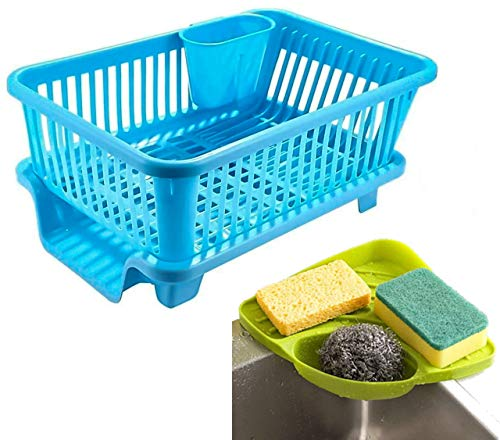 Angel Bear Plastic Popular Combo Kitchen Sink Organiser and 3 in 1 Kitchen Sink Dish Drainer Drying Rack Washing Basket with Tray for Utensils Tools Cutlery (Blue)