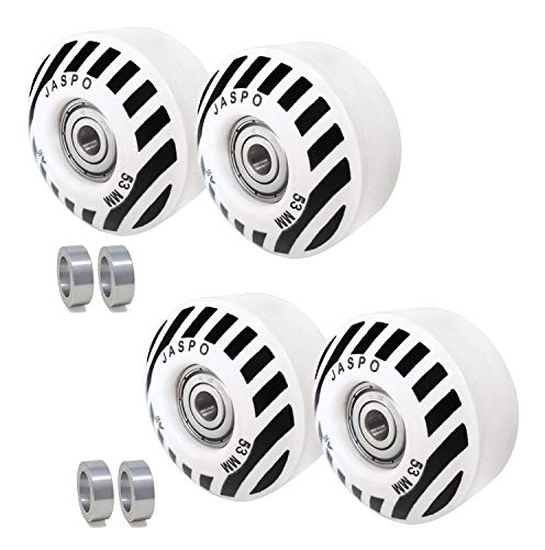 jaspo Sprint PU Skateboard and Roller Skates Wheels with Bearing 53 mm and Spacers (Multicolour) - Pack of 4
