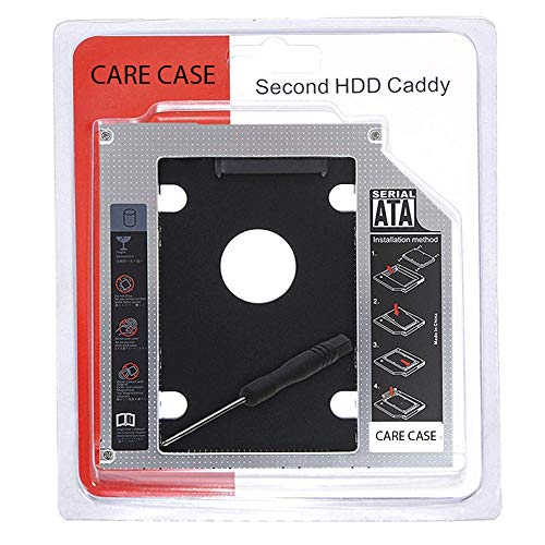 CARE CASE® Universal 9.5mm SATA to SATA 2nd SSD HDD Hard Drive Caddy Adapter Tray Enclosures Compatible with DELL, HP, Lenovo ThinkPad, ACER Gateway, ASUS, Sony, Samsung, MSI, Laptop (for SSD and HDD)
