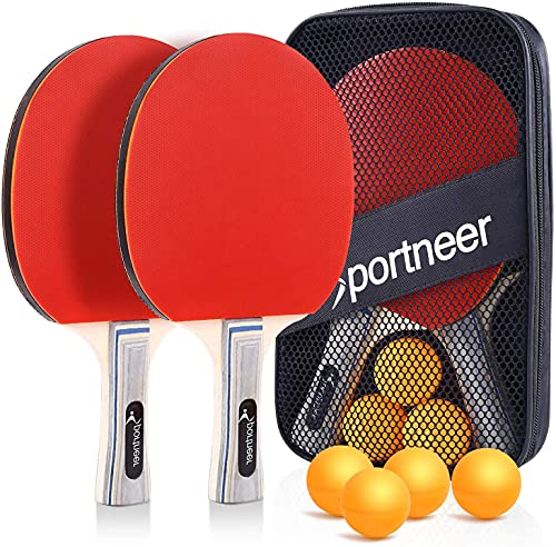 Table Tennis Set,Red and Black Double-Sided Table Tennis Set ,Table Tennis Set of 2 Paddles and 3 Balls, Storage Bag for Children Adult Indoor/Outdoor Games,Best Gift for Boys and Girls