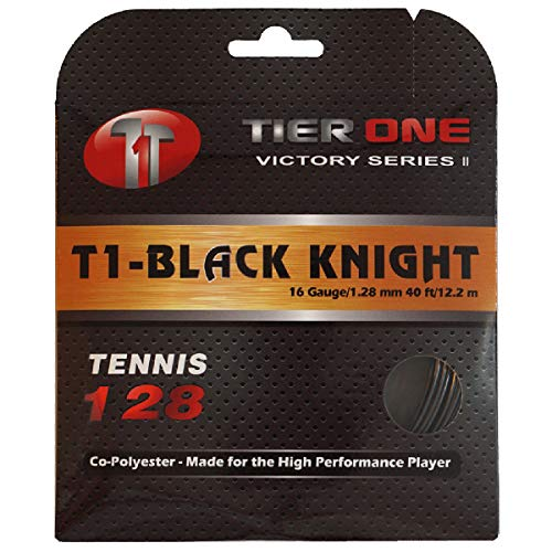 Tier One Sports Black Knight - Perfectly Balanced Co-Poly Tennis String for The High Performance Player (Set-Black, 16 Gauge (1.28 mm) 12.2 m/ 40 ft)