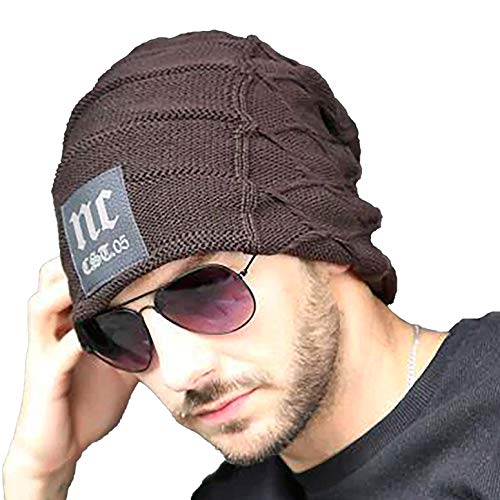 YOUSTYLO - YOU ARE PRIORITY Winter Knit Warm Hat Thick Soft Stretch Slouchy Beanie Skully Cap for Men and Women (7122C, Brown)