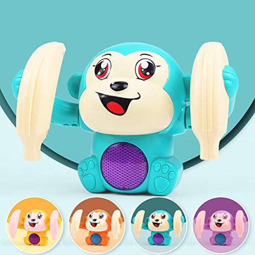 SaleOn Dancing and Spinning Rolling Doll Tumble Monkey Toy Voice Control Banana Monkey with Musical Toy with Light and Sound Effects and Sensor Mix Colors
