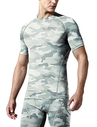 TSLA Men's Cool Dry Short Sleeve Compression Shirts, Active Sports Base Layer T-Shirts, Athletic Workout Shirt, BLM Edition(r13) - Camo Light Grey, M