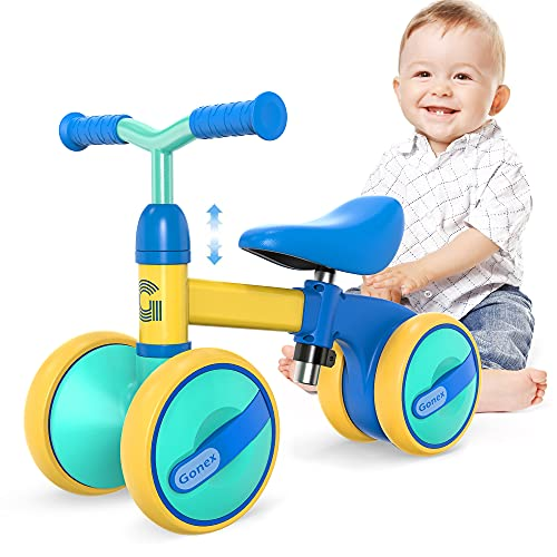 Gonex Baby Balance Bikes Bicycle Children Walker for for 1-3 Year Olds Boys Girls, Adjustable Seat Toddler Ride Outdoor Toys, No Pedal 4 Wheels Infant Bike First Birthday Gifts (Blue)