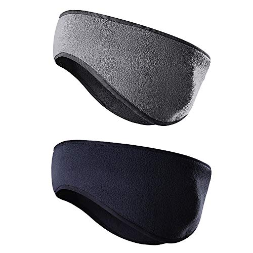 JOEYOUNG Fleece Ear Warmers/Muffs Headband for Men & Women Kids Perfect for Winter Running Yoga Skiing Work Out Riding Bike in Cold and Freezing Days (T-Grey+Dark Blue)