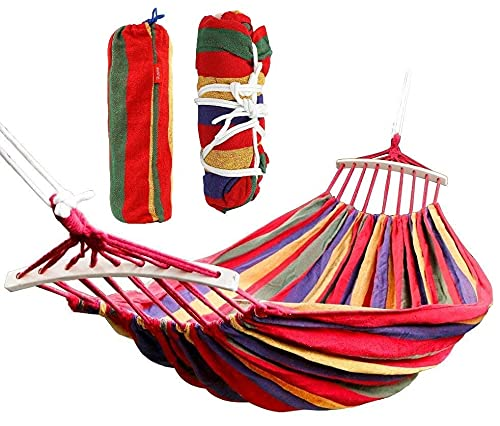 Tallin Canvas Foldable Hammock 260 x 150 cm Camping Prevent Rollover Hanging Swing Bed RED Rainbow Color with Wooden Stick (for Single Person) / Hanging Bed for Camping & Portable Outdoor Activities