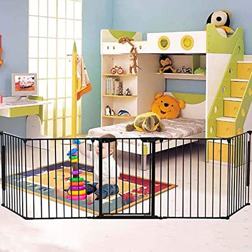 Baybee Auto Close Safety Baby Gate Auto Close Safety Baby Gate, Extra Tall and Wide Child Gate, Easy Walk Thru Durability Dog Gate for The House, Stairs, Doorways (Black 10x2.5 Ft.)