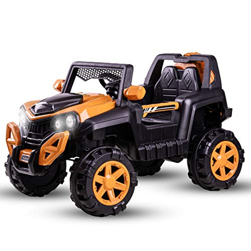 Baybee Dodge Baby Toy Car to Drive, Rechargeable 12V Battery Operated Ride-On Car for Kids Music Lights with R/C Jeep, Electric-Car, Kids Car, Racing Car for Boys & Girls Age 2-6 Years Old (Orange)