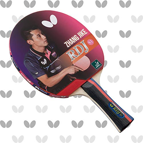 Butterfly RDJ S1 ITTF Approved Ping Pong Paddle Great Spin Speed and Control Wood Table Tennis Racket - Red and Black
