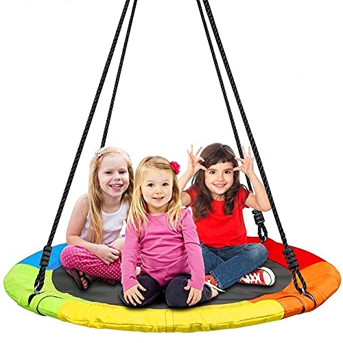 IRIS 40' Tree Saucer Swing for Children and Adults with Hanging Straps & Carabiners, 440lb Weight Capacity, Accessories Included