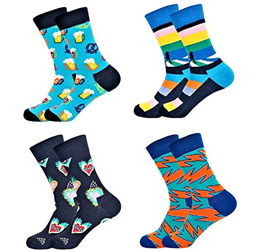 WXR Funky Blue Pattern Colourful Stylish Trendy Unique Design Party Dress Casual Happy Socks For Men And Women