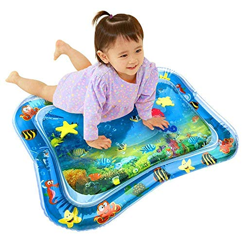 FitSense Inflatable Tummy Time Leakproof, Fun Activity Indoor and Outdoor Water Play Mat for Baby (Blue)