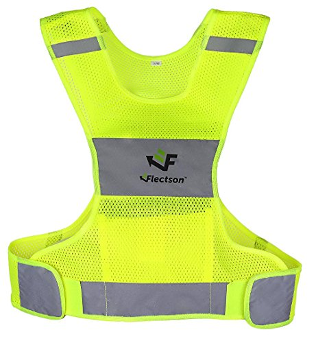 Reflective Vest for Running or Cycling (Women and Men, with Pocket, Gear for Jogging, Biking, Walking)(Medium/Large)
