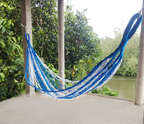 CRM TRADERS Nylon Rope Swing Hammock Hanging Mesh Relaxing Bed for Garden Outdoor Jhula (Blue&White)