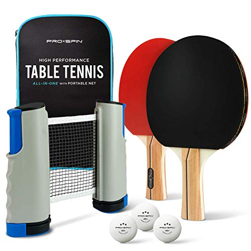 PRO SPIN Portable Ping Pong Set - Includes Retractable Net for Any Table, 2 Paddles/Rackets, 3 Balls, Travel/Storage Case