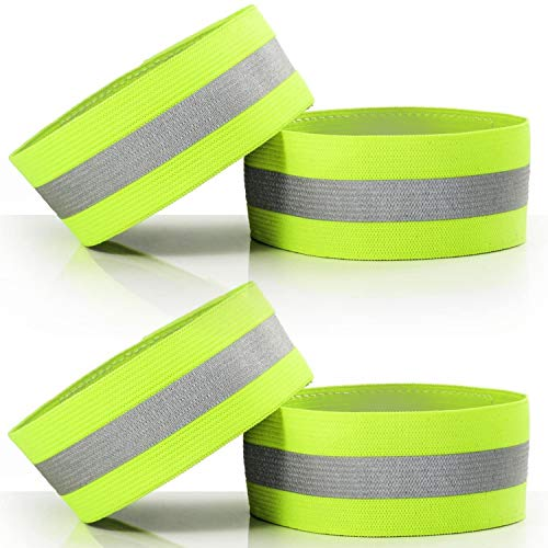 Lifekrafts High Visibility Adjustable Reflective Arm Ankle Bands - Straps Perfect for Runners, Walkers, Cyclists and as Bike Pant Leg (2 Pair , Pack of 4)