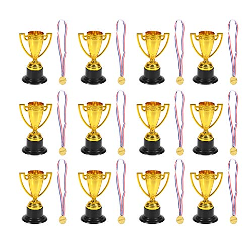Toyvian 24PCs Childrens Prizes Mini Early Learning Interest Development Winner Awards Gold Cups Medals Kids Award Trophy Classroom Award Trophy Kids Party Trophy for Party Sport Competitions