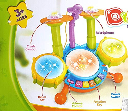 Touyma® Fun Beat Jazz Musical Drum Set with Mic Drumstick and Flashing Lights for Kids