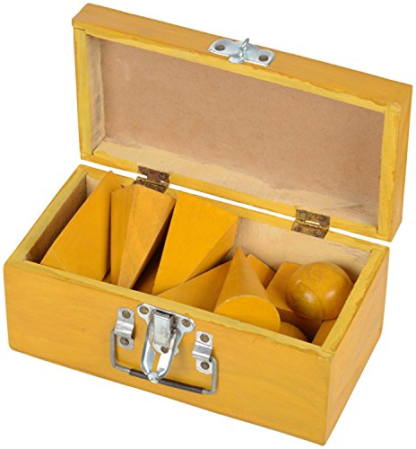 VIJAY SURGICAL Geometrical Model Figure with Polish in Wooden Box (Yellow) -Set of 12 Different Shapes