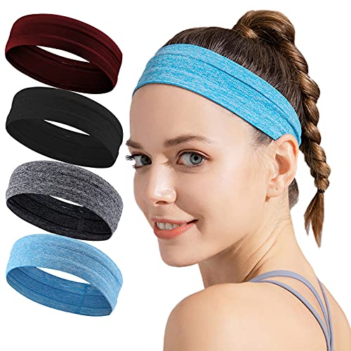 Wicking Headband for Women Men - Silicone Sweatbands with Nonslip Grip - Hair Head Band Set - Workout Sports Fitness Exercise Tennis Running Yoga Athletic Travel