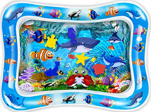 PLUSPOINT Tummy time Water Play mat Baby and Toddlers Perfect Fun time Play Inflatable Water mat,Activity Center Your Baby's Stimulation Growth with Floating Toys (Water Bed mat)