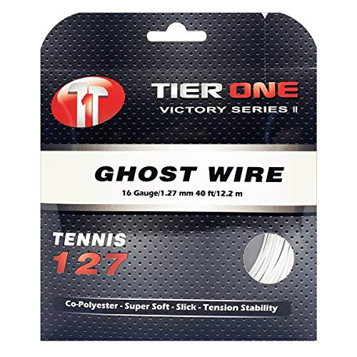 Tier One Sports Ghost Wire - Super Soft Co-Poly Tennis String for Arm-Friendly Hit (Set-White, 16 Gauge (1.27 mm) 12.2 m/ 40 ft)