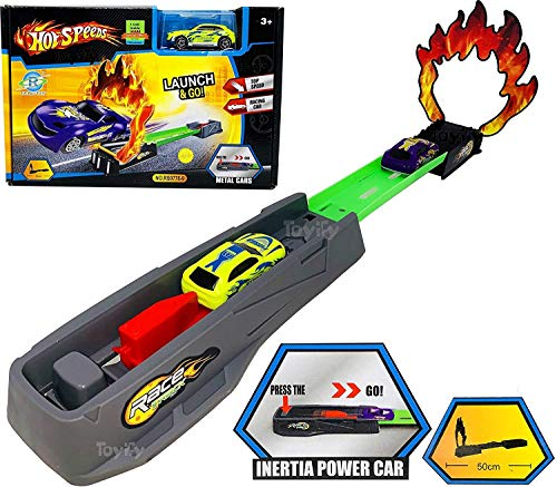 Clickedia Launch Race and Go with Racing Cars Launcher with top Speed Metal car-Gift for Boys (Fire Launcher)