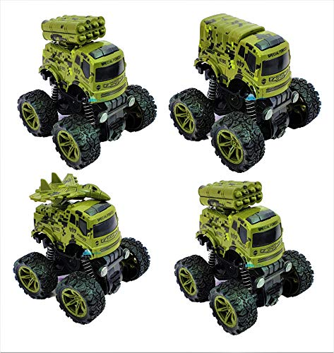 FunBlast 4WD Monster Military Truck Toy for Kids (Pack of 4) - Friction Power Push & Go Toy Rock Crawler Toy Car Vehicles for Kids Boys- (Multicolor)