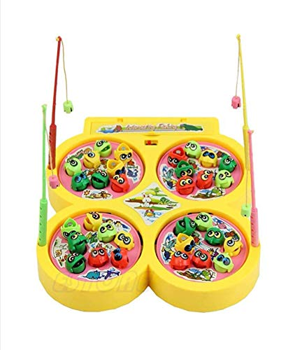 Vikas gift gallery Battery Operated Fish catching Game 2 - 4 Players Game with 4 Pools ( Multicolor )
