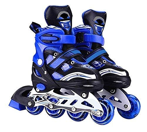 MINSO Inline Skates Size Adjustable All PU Wheels with Aluminum-Alloy, LED Flash Light, Age Group 6-14 Years