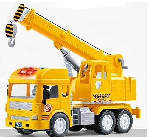 generic pull back vehicles crane toy for kids, friction power toy trucks for 3+ years old boys and girls, light & sound truck toy for kids with 4 wheels, yellow- Multi color