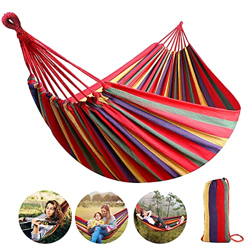 Futurekart Fabric Hammock for Outdoor Activities & Beach Travel 85 * 30 inches (Stripe Red)