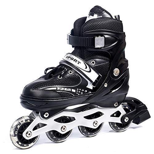 Jumix Children's Inline Skates Unisex Indoor and Outdoor Adjustable Size Roller Shoes Children's Flash Wheel Best for Boys and Girls Gifts Full New Edition Inline Skating - (Black - Full Adjustable)
